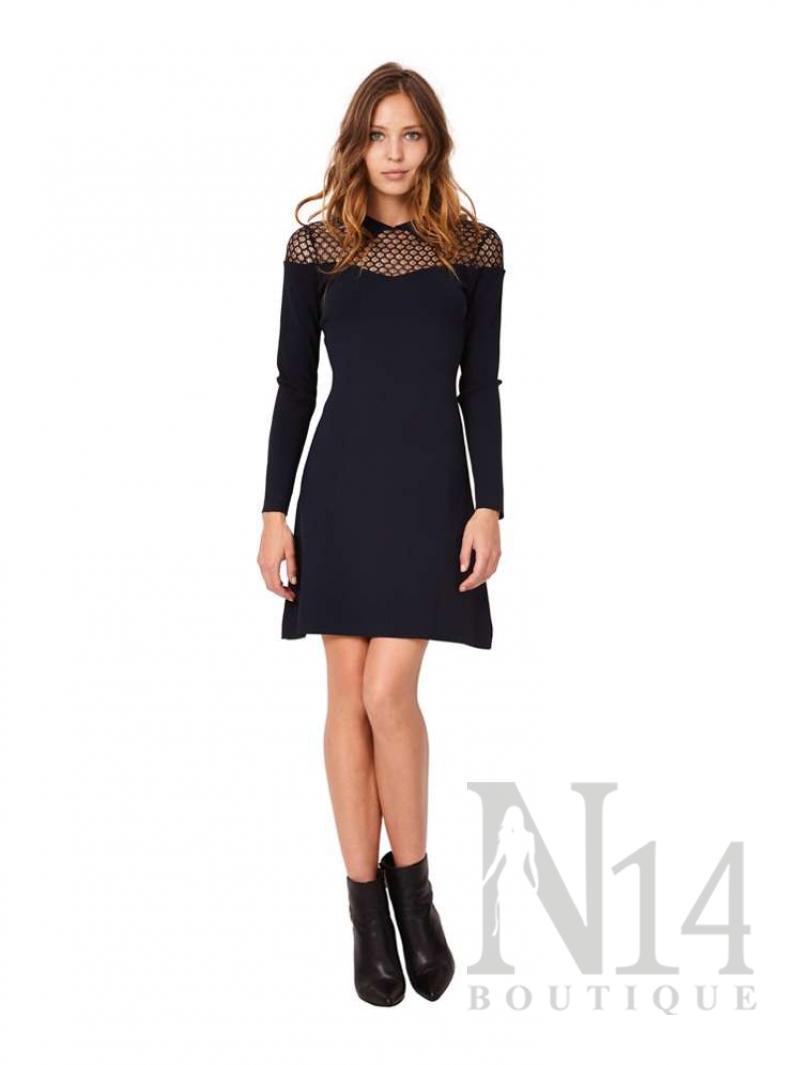 Плетена рокля в тъмно синьо с цип на гърба