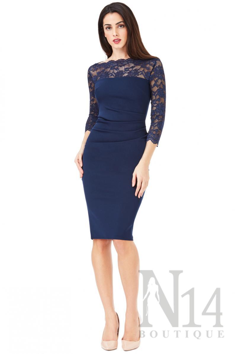 Елегантна рокля в тъмно синьо