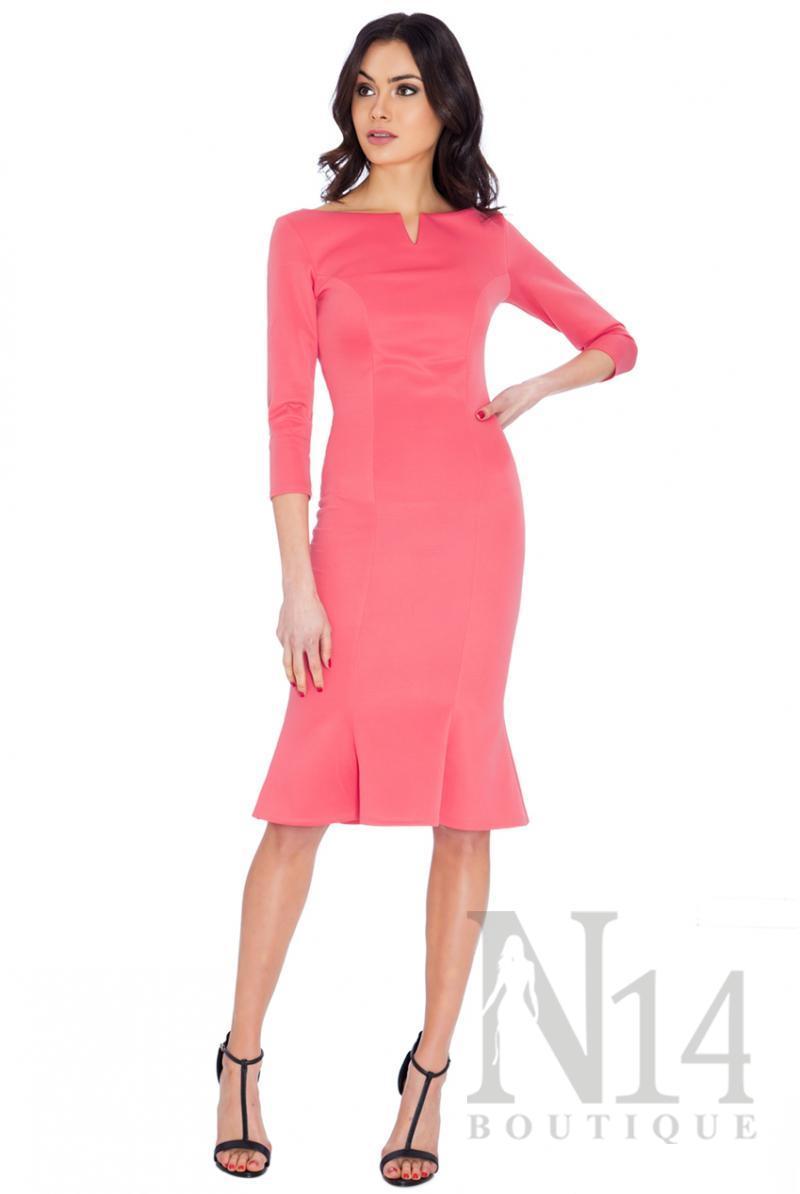 Елегантна рокля в цвят корал