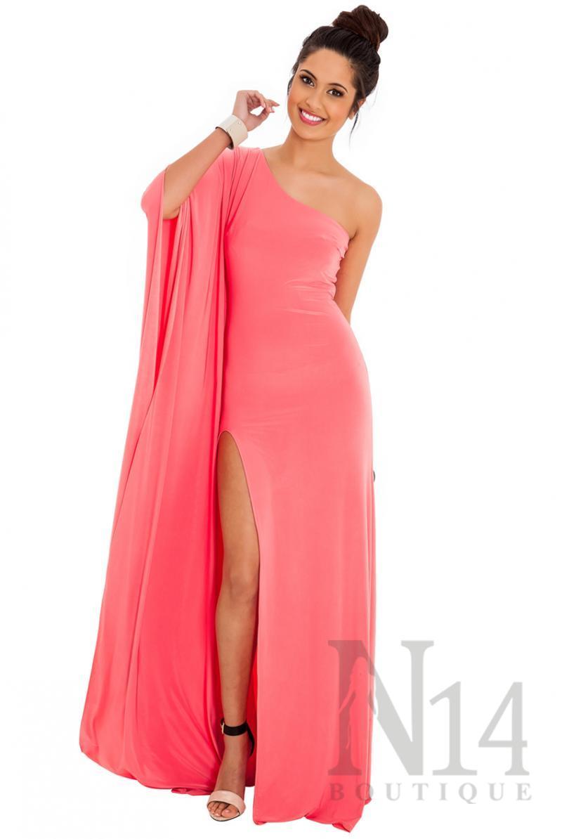 Дълга рокля с едно рамо и цепка в цвят корал