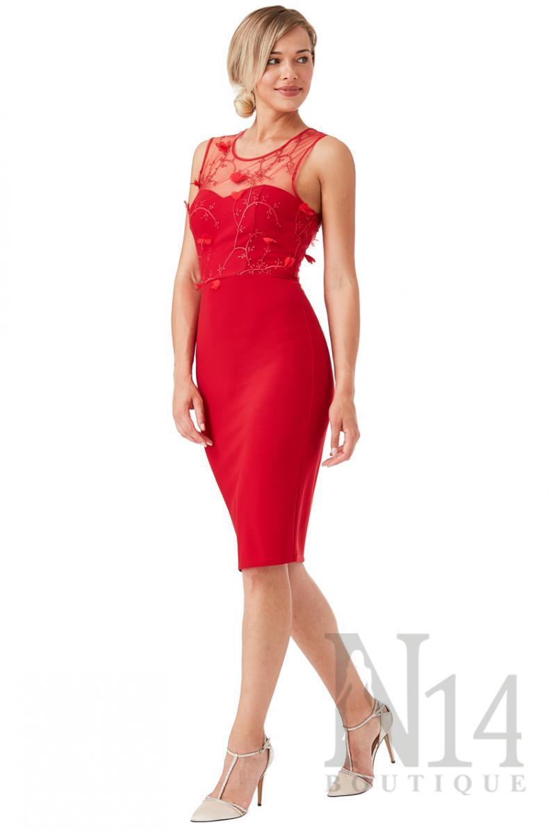Елегантна рокля  по тялото в червено
