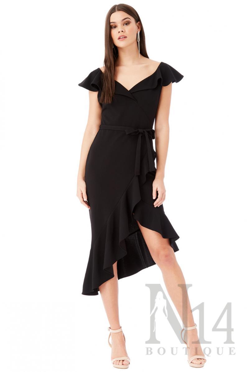 Асиметрична рокля с воали в черно