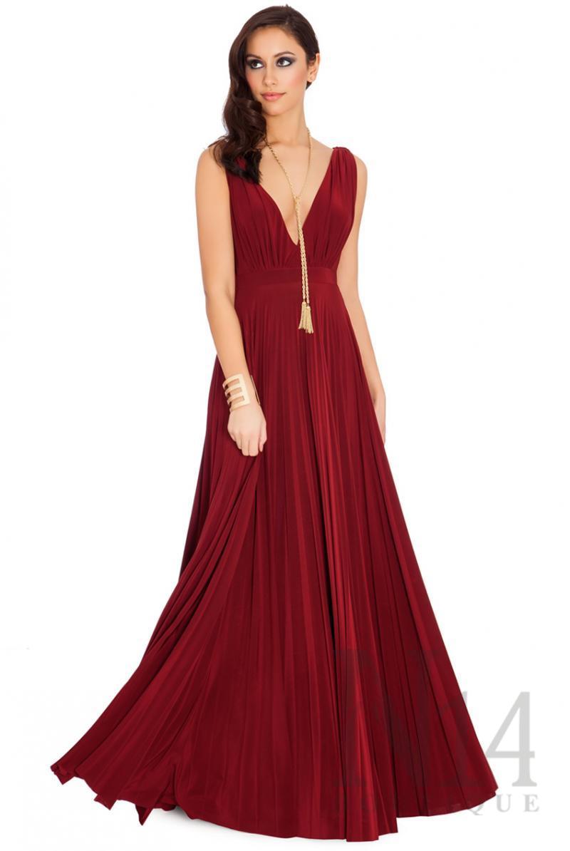 Дълга рокля в цвят вино