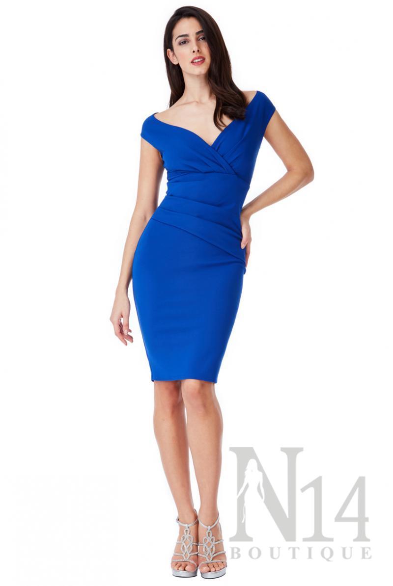Елегантна рокля по тялото в кралско синьо