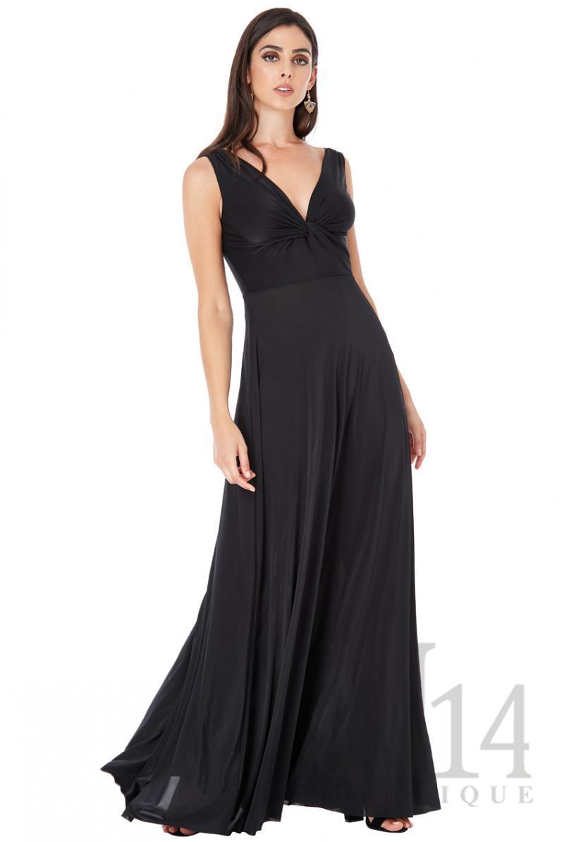 Дълга рокля с преплетени детайли в черно