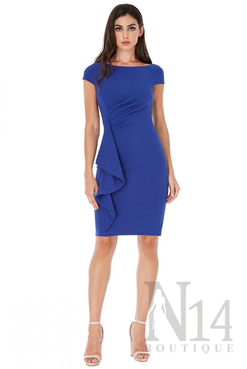 Къса рокля по тялото с набор отпред