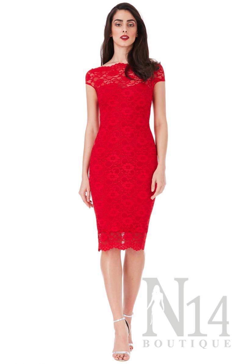 Елегантна  дантелена рокля по тялото в червен цвят