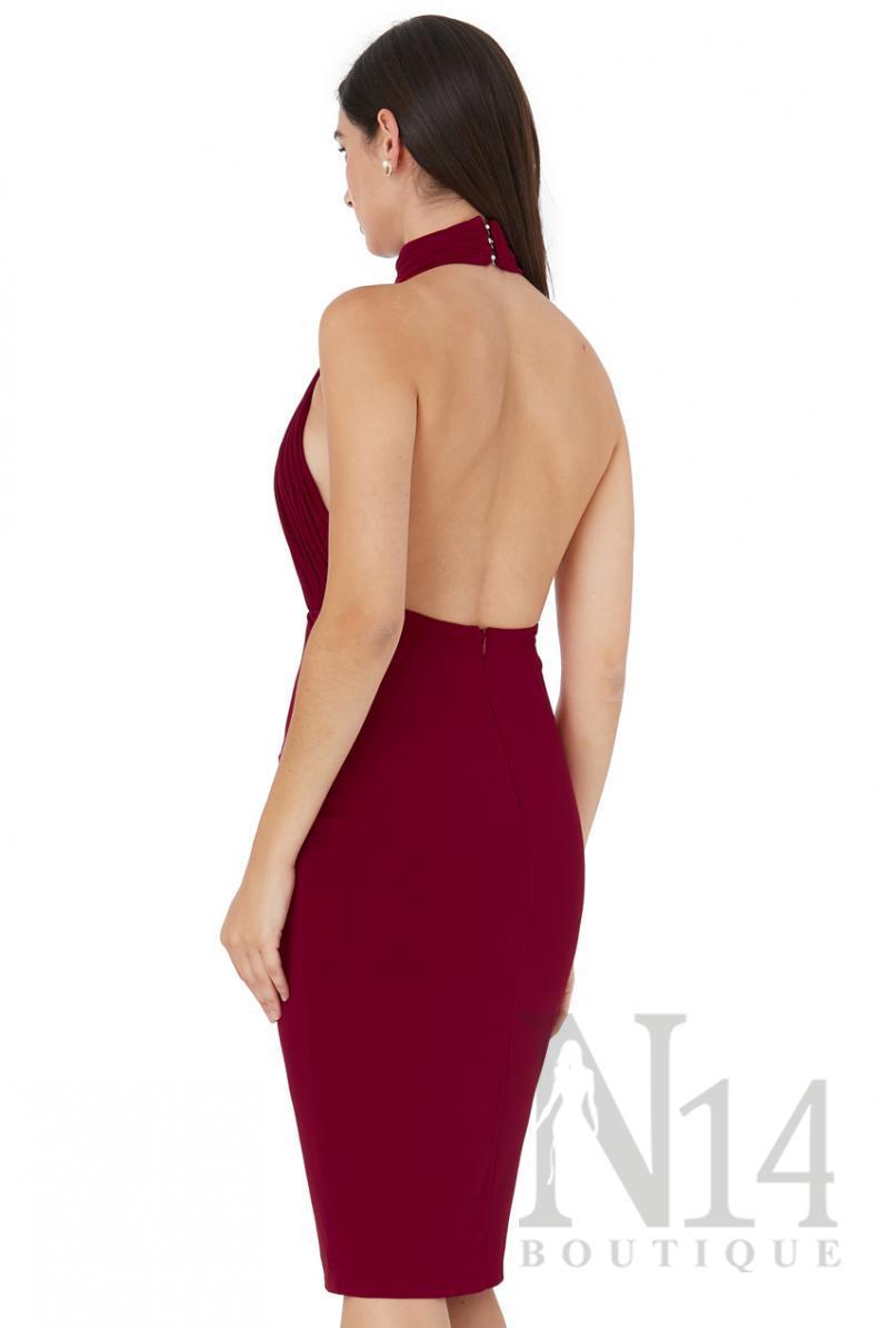 Елегантна рокля по тялото с гол гръб в цвят бордо