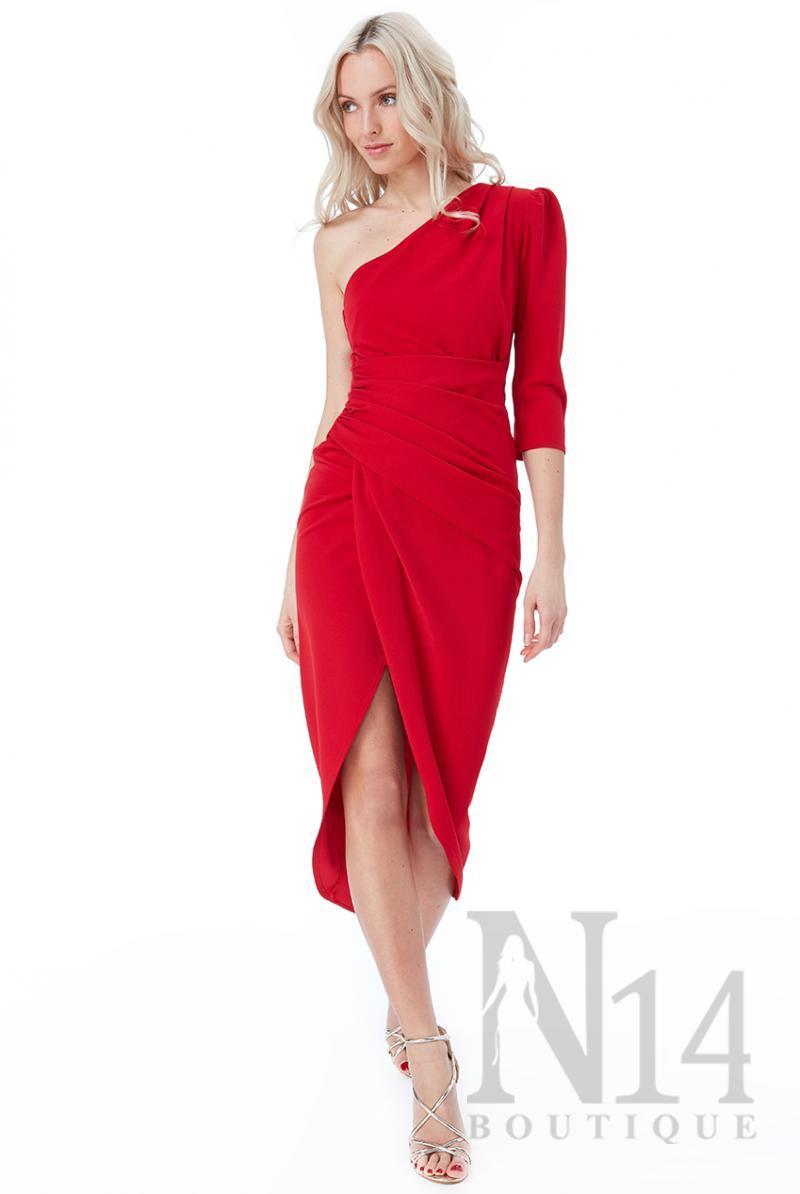 Елегантна рокля в червено с едно рамо
