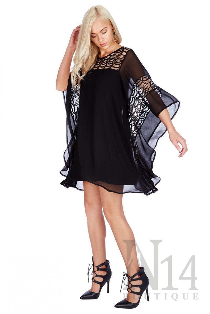 Ефирна рокля в черно