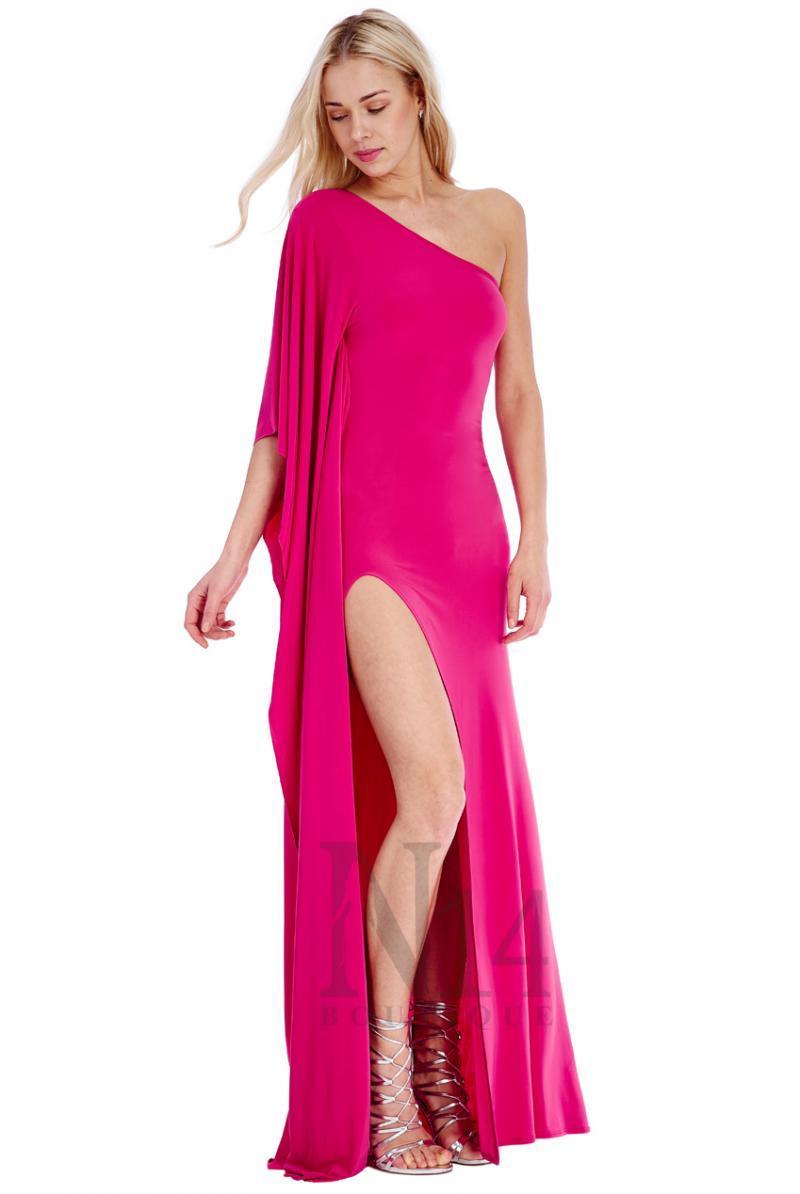 Дълга рокля с едно рамо и цепка в цвят циклама