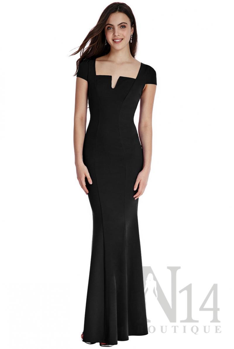 Дълга рокля в черно  с къс ръкав