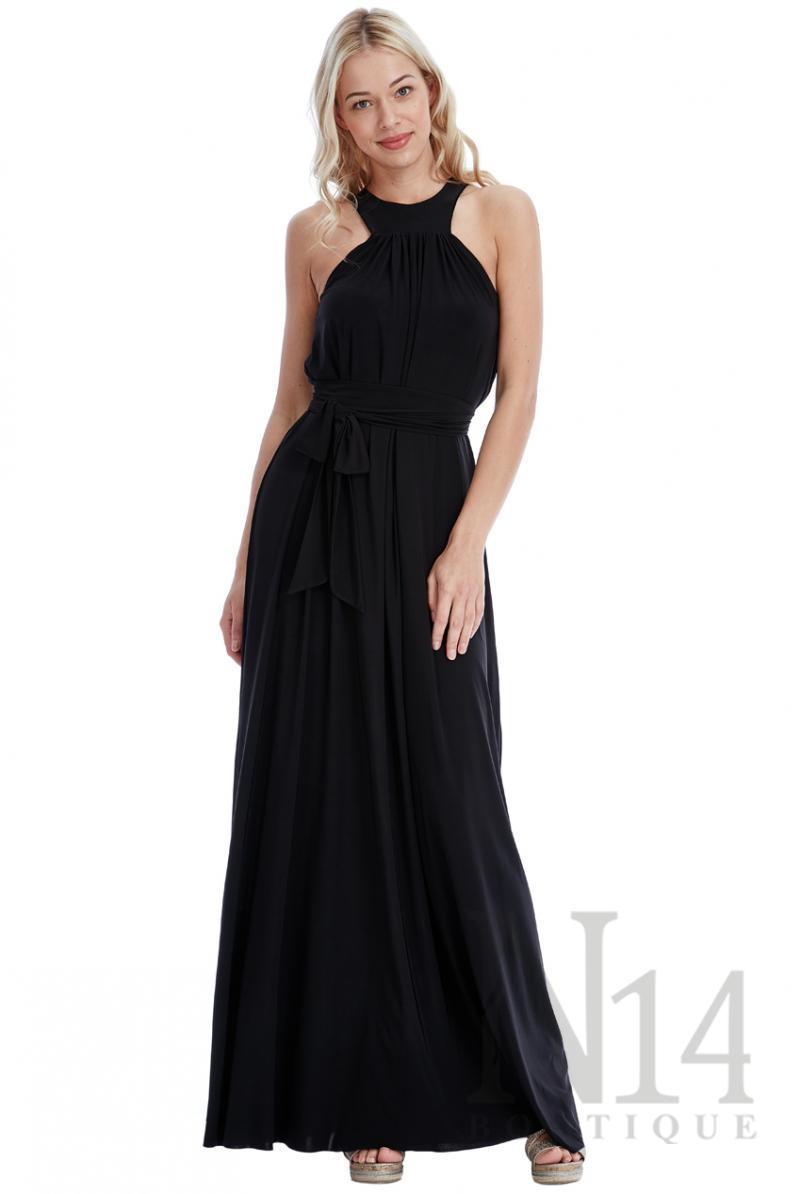 Черна дълга рокля с връзки