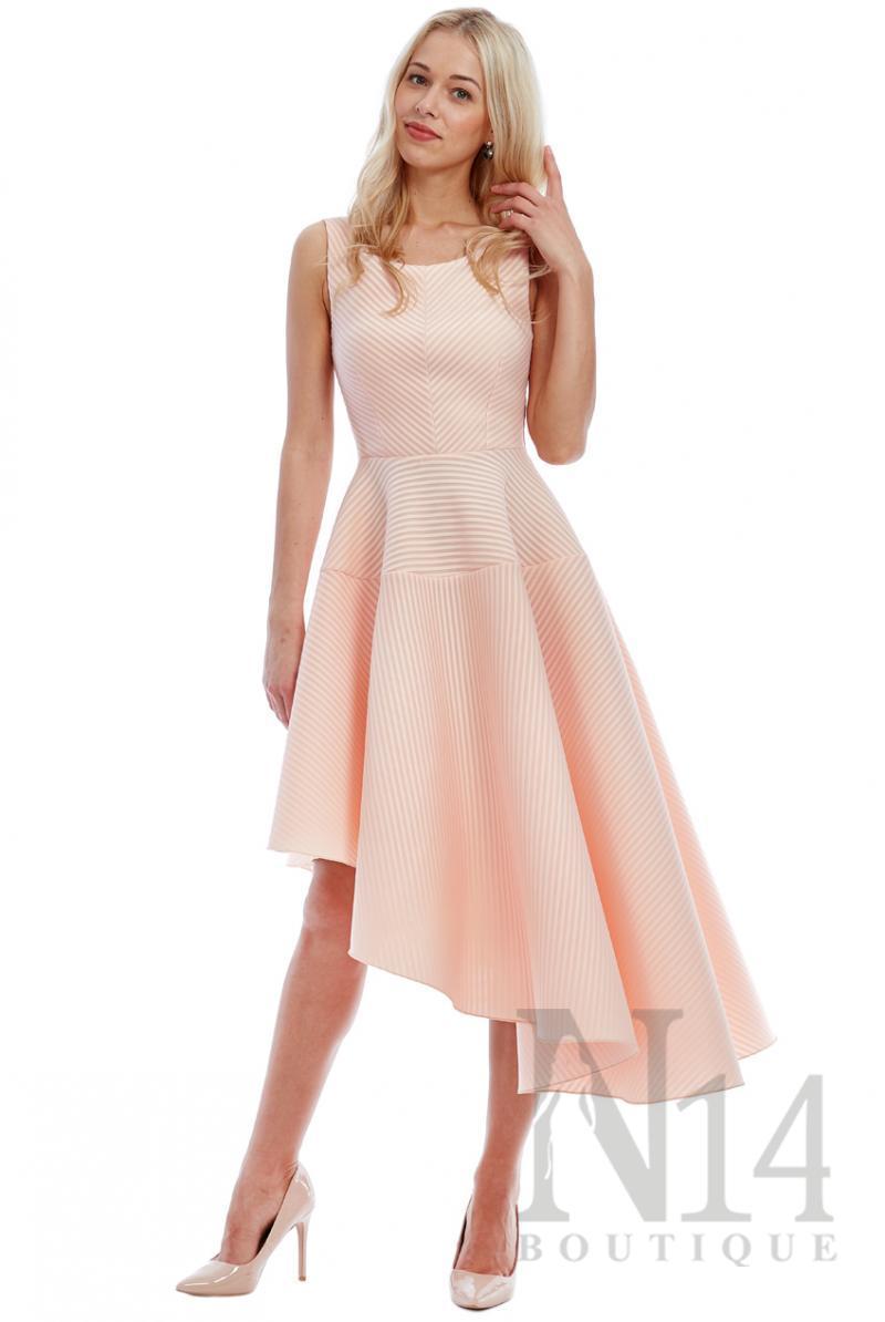 Асиметрична рокля в цвят крем