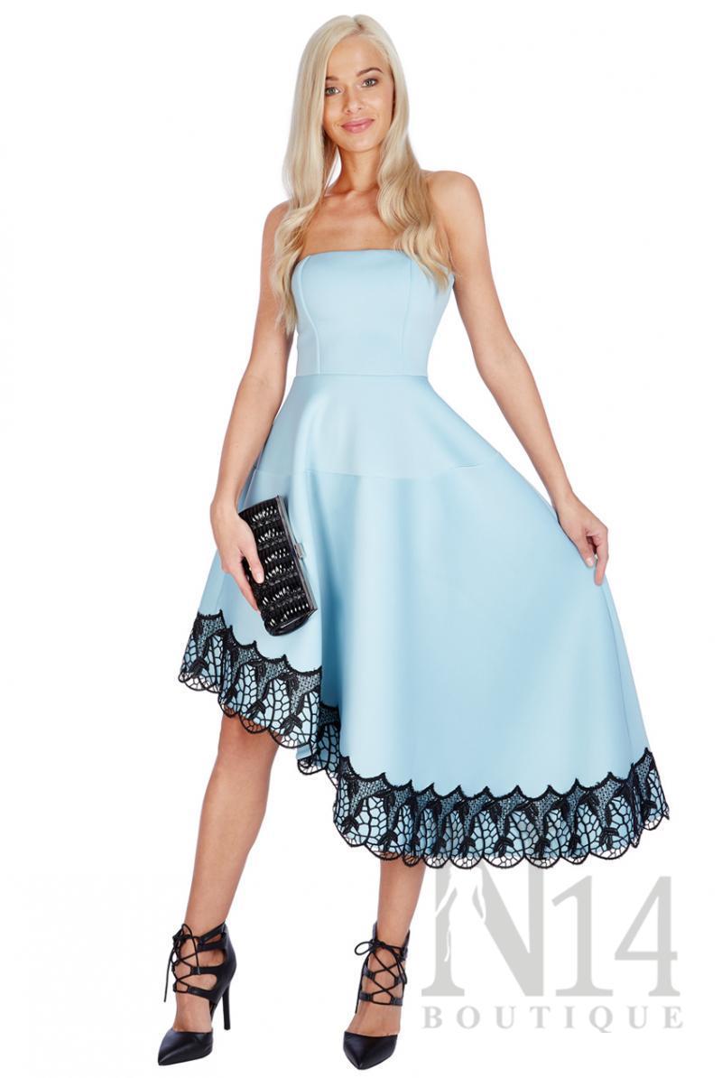 Асиметрична рокля без презрамки в синьо