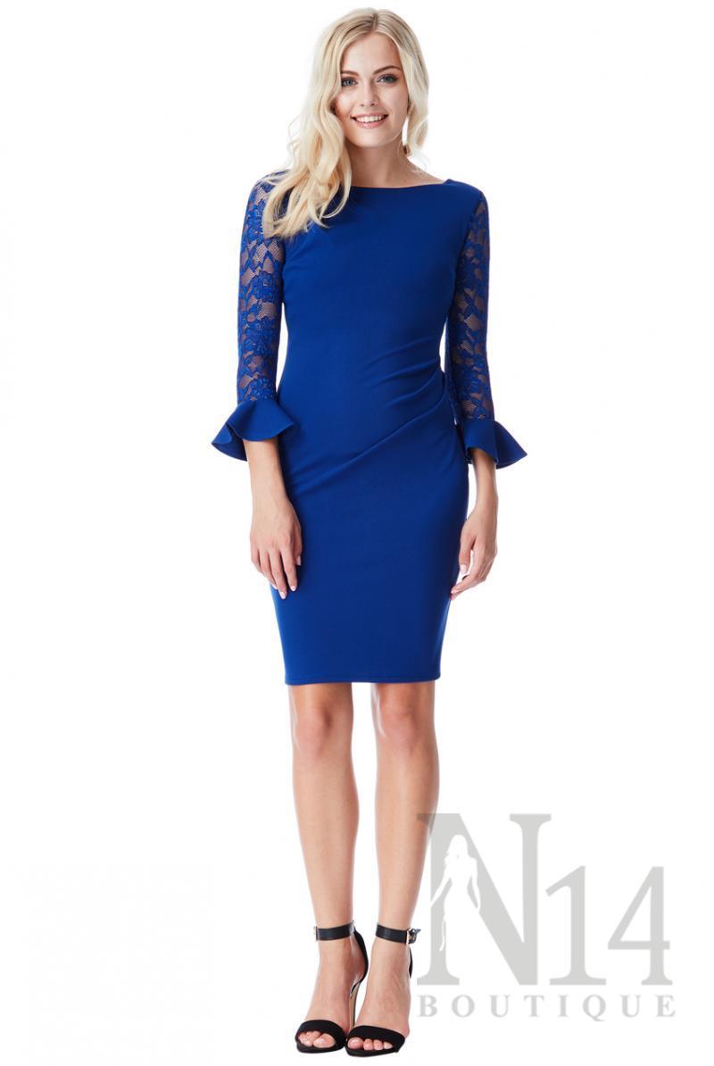 Къса рокля в кралско синьо с дантелени ръкави и воал